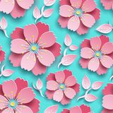 Mooi helder naadloos patroon met sakura stock illustratie