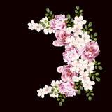 Mooi helder waterverfboeket met pioenbloemen vector illustratie