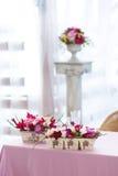 Mooi het huwelijksdecor van bloemenboeketten Stock Foto