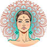 Mooi het meisjesgezicht van de fantasiemanier en bloemenmandala , hand getrokken vectorbeeld Stock Foto's