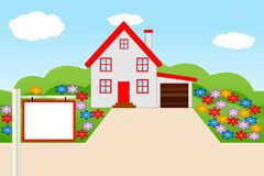 Mooi huis met een bloeiende tuin Stock Afbeelding