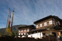 Mooi Huis Uit Bhutan in het platteland van Bhutan Royalty-vrije Stock Afbeelding
