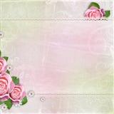 Mooi huwelijk, vakantieachtergrond met rozen Royalty-vrije Stock Foto's