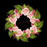Mooi huwelijk wreth met groene bladeren, rozen, viooltje en bes stock illustratie