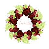 Mooi huwelijk wreth met groene bladeren, rozen, viooltje en bes royalty-vrije illustratie