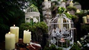 Mooi huwelijksdecor met kaarsen, berklogboeken stock videobeelden