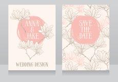 Mooi huwelijksontwerp met magnoliabloemen vector illustratie