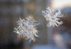 Mooi ijzig natuurlijk patroon op de wintervenster royalty-vrije stock afbeelding