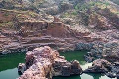 Mooi Indisch landschap in Gharial-Heiligdom Stock Afbeeldingen