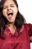 Mooi Indisch meisje dat geeuw neemt Stock Foto