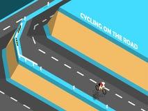 Mooi isometrisch ontwerp die van het cirkelen op de weg, op de berg biking Royalty-vrije Stock Foto