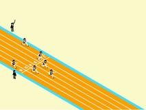 Mooi isometrisch ontwerp van atletiek op renbaan met exemplaarruimte vector illustratie