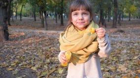 Mooi jong geitje die iriserende zeepbels maken in de camera in openlucht herfst stock video