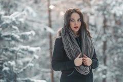 Mooi jong meisje in de winterbos stock fotografie