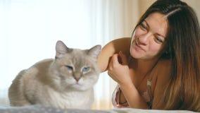 Mooi jong meisje die een kat petting Blauw-eyed kat met een roze neus Een vrouw en een kat liggen op het bed stock footage