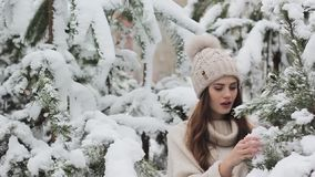 Mooi jong meisje in een sneeuwbos stock footage