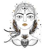 Mooi jong meisje, gezichtsvoorgrond Uitstekende schetsstijl van tekening Schets voor tatoegering, geïsoleerde druk op t-shirt Mag royalty-vrije illustratie