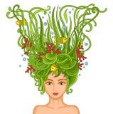 Mooi jong meisje met abstract golvend haar Royalty-vrije Stock Afbeelding