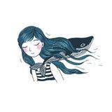 Mooi jong meisje met een walvis Stock Foto's