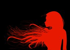 Mooi jong meisje met haar haar in helder rood, op een zwarte achtergrond stock illustratie