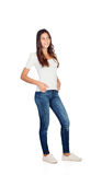 Mooi jong meisje met jeans Stock Afbeelding