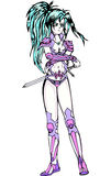 Mooi jong meisje met zwaard Stock Foto