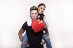 Mooi jong paar in liefde en strijdconcept Stock Foto