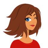 Mooi jong tiener gelukkig meisje met bruin en kapsel die knipogen glimlachen Vectorillustratie van een vrouw stock illustratie