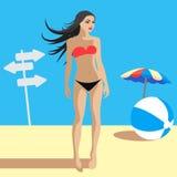 Mooi Jong Wijfje op de Zomerstrand, Vectorillustratie Stock Foto