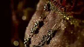 Mooi juweel op een modieuze kleding Close-up van Juwelen Mooie modieuze dingen stock videobeelden
