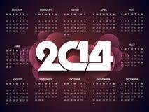 Mooi kalenderontwerp voor nieuw jaar 2014. Stock Afbeeldingen