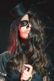 Mooi kapsel en enge make-up bij Halloween-partij royalty-vrije stock afbeelding