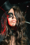 Mooi kapsel en enge make-up bij Halloween-partij royalty-vrije stock foto's