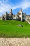 Mooi kasteel in Ogrodzieniec dichtbij Krakau in de lente, Polen Royalty-vrije Stock Fotografie