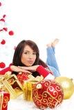 Mooi Kerstmismeisje Stock Foto