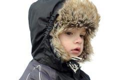 Mooi kind in de winterhoed. Stock Afbeeldingen