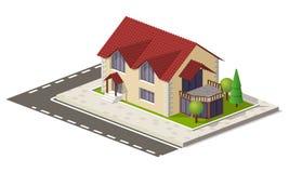 Mooi klein isometrisch huis op groene die grond op wit wordt geïsoleerd Onroerende goederen bezit, bouw en huurconcept Royalty-vrije Stock Foto's