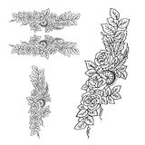 Mooi kleurenpatroon Decoratie van rozen op een witte backgr Stock Afbeelding