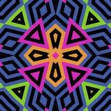 Mooi kleurrijk naadloos mozaïekpatroon met zwarte lijnen vector illustratie