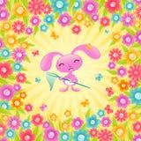 Mooi konijntje met bloemen. royalty-vrije illustratie