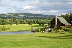 Mooi landhuis met gazon stock foto