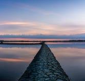 Mooi landschap bij zonsondergang zout Landbouwbedrijf Royalty-vrije Stock Foto