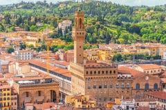 Mooi landschap boven Paleis Vecchio Palazzo Vecchio in P stock afbeeldingen