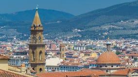 Mooi landschap boven timelapse, panorama op historische mening van Florence van Boboli Gardens Giardino Di Boboli stock videobeelden