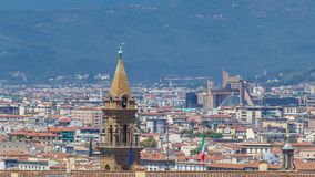 Mooi landschap boven timelapse, panorama op historische mening van Florence van Boboli Gardens Giardino Di Boboli stock footage