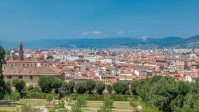 Mooi landschap boven timelapse, panorama op historische mening van Florence van Boboli Gardens Giardino Di Boboli stock video