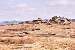 Mooi Landschap Grijze Stenen Het landschap van de berg Droog gras stock foto