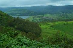 Mooi landschap in Indisch dorp Satara Royalty-vrije Stock Afbeelding