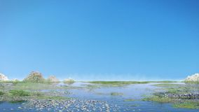 Mooi landschap met blauwe hemel en kalm water Royalty-vrije Stock Fotografie