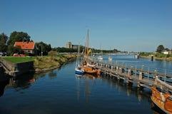 Mooi landschap met boten Stock Foto